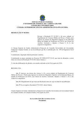 resolução nº 04/2014 - Universidade Federal de Campina Grande