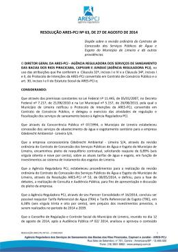 RESOLUÇÃO ARES-PCJ Nº 63, DE 27 DE AGOSTO DE 2014