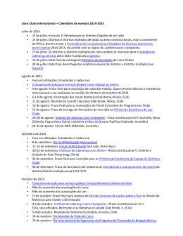 Lions Clubs International – Calendário de eventos 2014