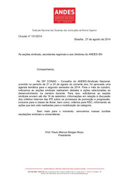 Circular nº 151/2014 Brasília, 27 de agosto de 2014 Às - Andes-SN