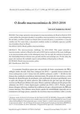 O desafio macroeconômico de 2015-2018
