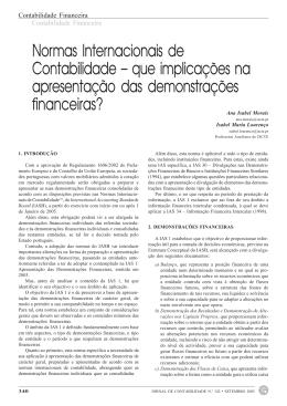 Normas Internacionais de Contabilidade – que implicações