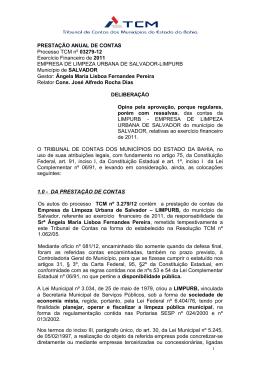 PRESTAÇÃO ANUAL DE CONTAS Processo TCM nº 03279