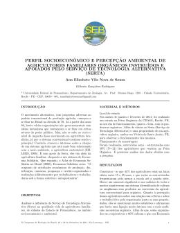Perfil socioeconômico e percepção ambiental de agricultores