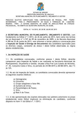 Edital nº 16/2015 - Prefeitura de Aracaju
