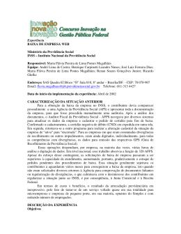 Experiência BAIXA DE EMPRESA WEB Ministério da Previdência