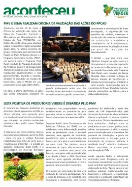 Aconteceu 29 - Programa Municípios Verdes