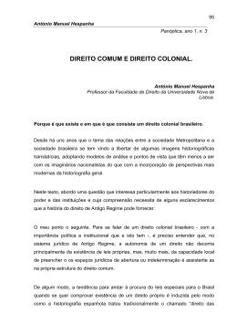 DIREITO COMUM E DIREITO COLONIAL.