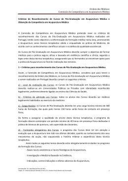 Critérios aprovados pela OM em Junho 2010 - SPMA