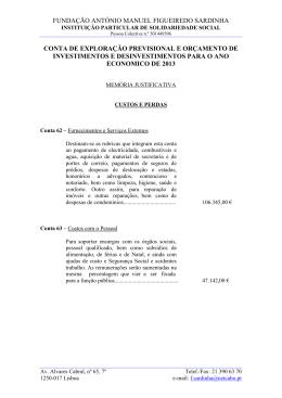 FUNDAÇÃO ANTÓNIO MANUEL FIGUEIREDO SARDINHA CONTA