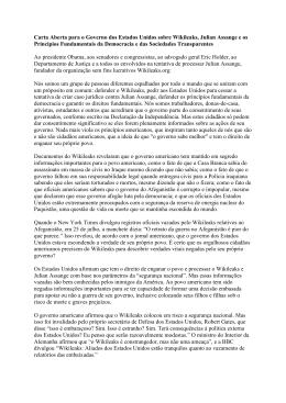 Carta Aberta para o Governo dos Estados Unidos
