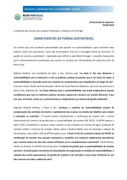 GERIR EVENTOS DE FORMA SUSTENTÁVEL