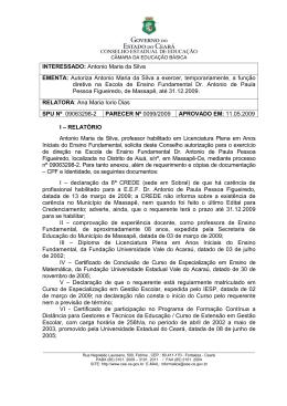INTERESSADO: Antonio Maria da Silva EMENTA: Autoriza Antonio