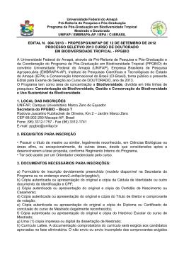 Seleção de Doutorado - UNIFAP - Universidade Federal do Amapá