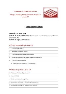 XI SEMANA DE PSICOLOGIA DA UVV Diálogos interdisciplinares