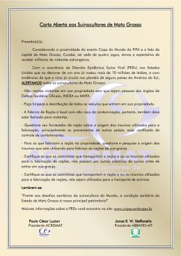 Carta Aberta aos Suinocultores de Mato Grosso Carta Aberta aos