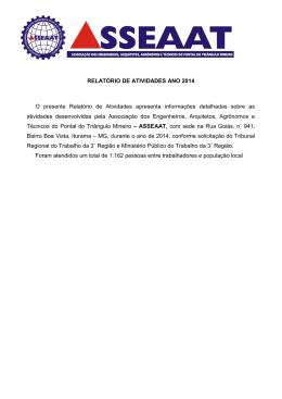RELATÓRIO DE ATIVIDADES ANO 2014 O presente Relatório de