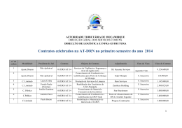 Contratos celebrados na AT-DRN no primeiro semestre do ano 2014