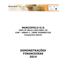DEMONSTRAÇÕES FINANCEIRAS 2014