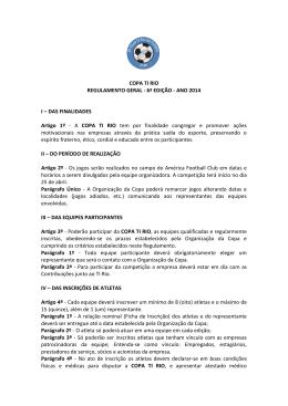 COPA TI RIO REGULAMENTO GERAL - 6ª EDIÇÃO
