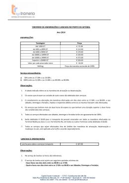TARIFÁRIO DE AMARRAÇÕES E LANCHAS NO PORTO DE