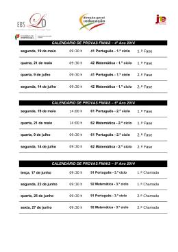 CALENDÁRIO DE PROVAS FINAIS – 4º Ano 2014 segunda, 19 de