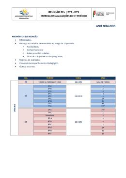 REUNIÃO EEs | PTT - DTS ANO 2014-2015