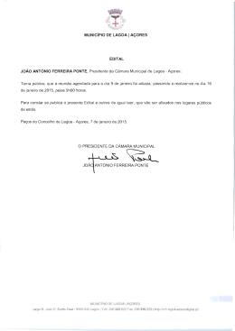 MUNiCiPIO DE LAGOA I ACORES EDITAL JoAo ANTONIO