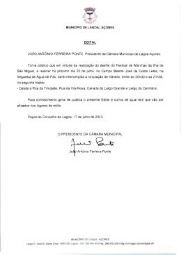 EDITAL JoAo ANTONIO FERREIRA PONTE , Presidente da Camara