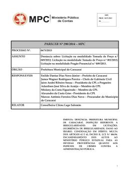 parecer nº 290/2014 ‒ mpc - Ministério Público de Contas | Roraima