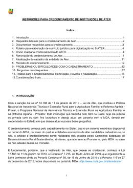 Instruções para credenciamento de Ater Siater