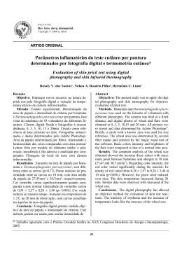 Parâmetros inflamatórios do teste cutâneo por puntura