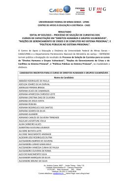 Resultado Edital 023/2015 - Universidade Federal de Minas Gerais