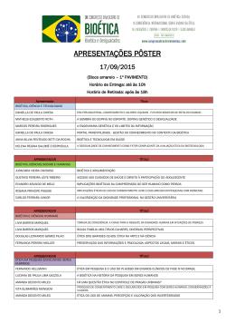 pôsters 17/09 - XI Congresso Brasileiro de Bioética