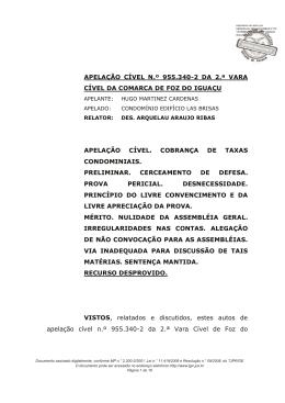 APELAÇÃO CÍVEL N.º 955.340-2 DA 2.ª VARA CÍVEL DA