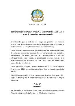 Decreto Presidencial que Aprova as Medidas para fazer Face a