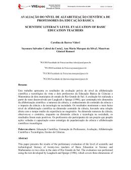 avaliação do nível de alfabetização científica de professores da