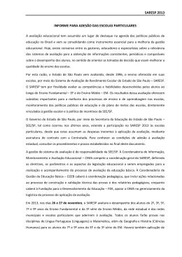 saresp 2013 informe para adesão das escolas particulares
