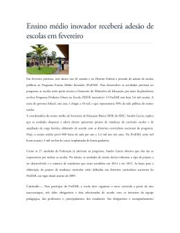 Ensino médio inovador receberá adesão de escolas - ADCEFET-RJ