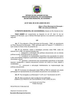 PLANO MUNICIPAL DE EDUCAÇÃO 2015