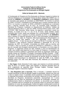 Edital - Seleção 2012 - Mestrado (Biologia Vegetal)