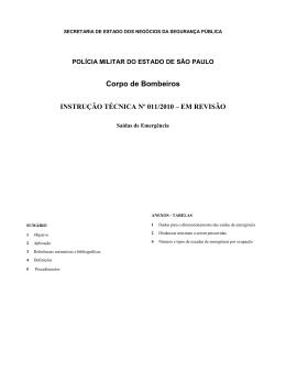 Corpo de Bombeiros INSTRUÇÃO TÉCNICA Nº 011/2010