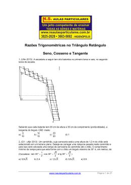 Trigonometria no Triângulo Retângulo – sen – cos – tg