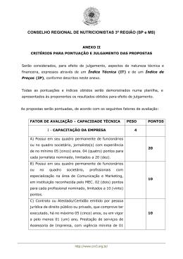 Anexo II - Critérios para Pontuação e Julgamento das - CRN-3
