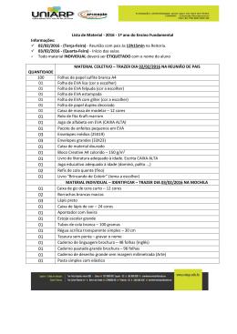 Lista de Material - 2016 - 1º ano do Ensino Fundamental