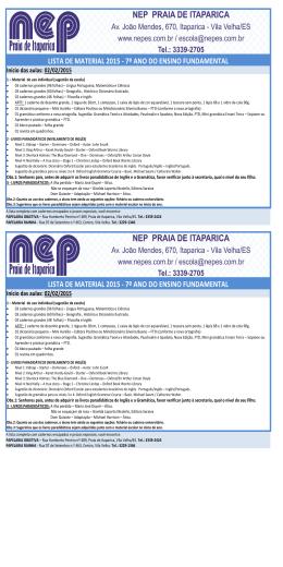 LISTA DE MATERIAL 2015 - 7º ANO DO ENSINO FUNDAMENTAL