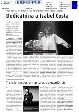 Dedicatória a Isabel Costa - Teatro Nacional São João no Porto