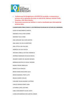 Lista dos aprovados na primeira fase projeto Caminhos
