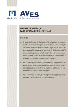 MANUAL DE APLICAÇÃO PARA A PROVA DE INGLÊS 7.º ANO