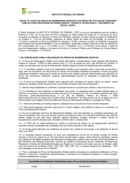 INSTITUTO FEDERAL DO PARANÁ EDITAL Nº 15/2015 DA
